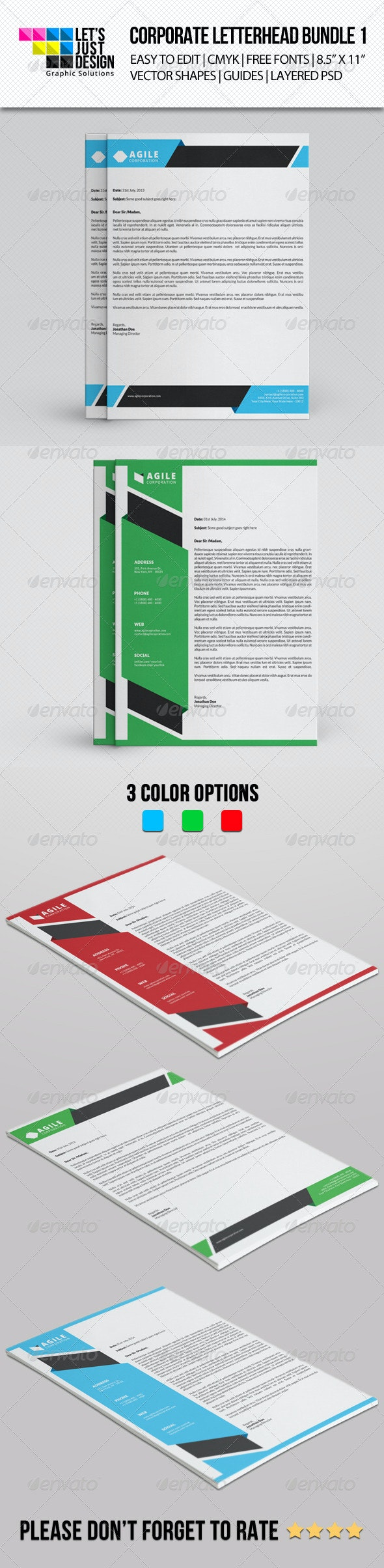 Corporate Letterhead Bundle Vol 1 - Stationery Print Templates