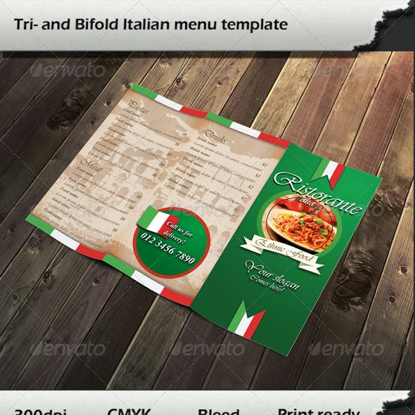 Tri- and Bifold Italian Menu Templates