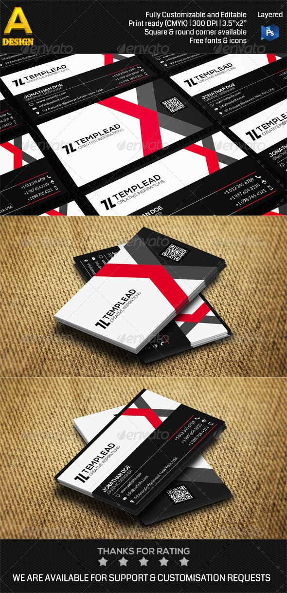 Modern Corporate Business Card AN0457 - Corporate Business Cards