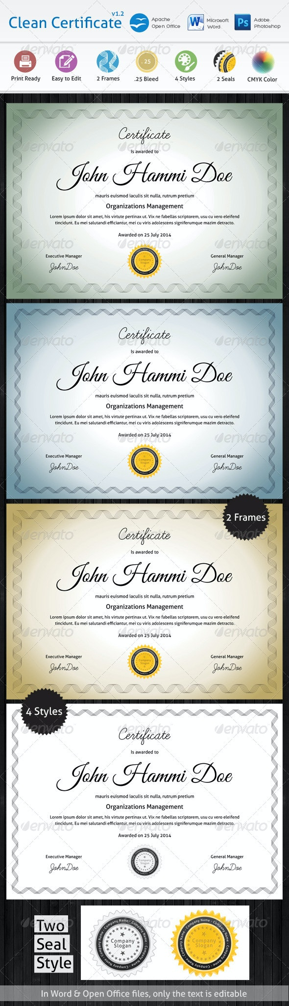 Clean Certificate - Certificates Stationery