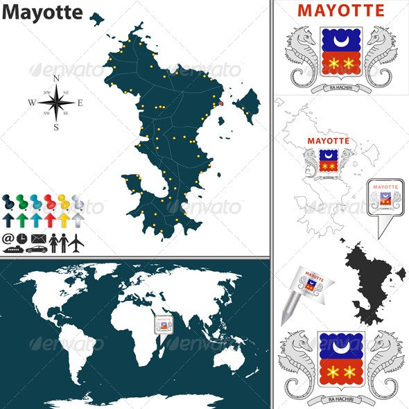 Map of Mayotte - Travel Conceptual
