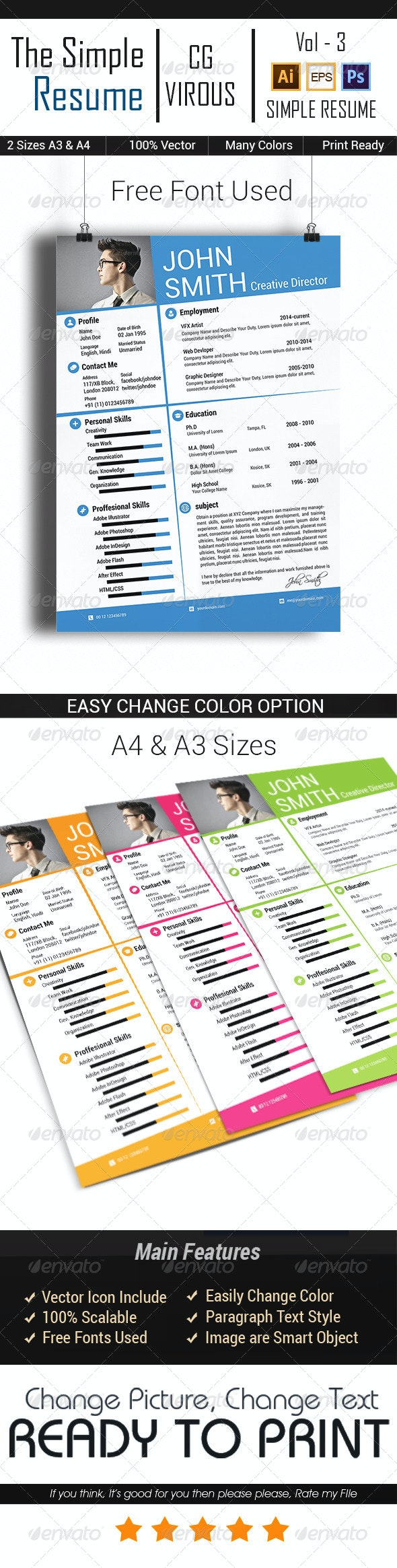 The Simple CV/Resume Vol-3 - Resumes Stationery