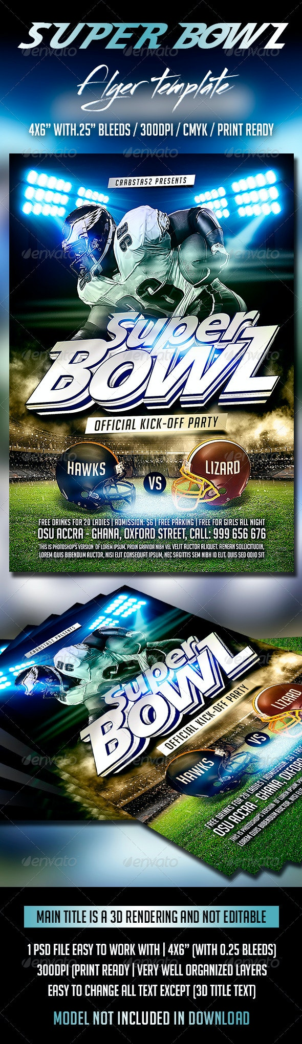 Super Bowl Flyer Template - Sports Events