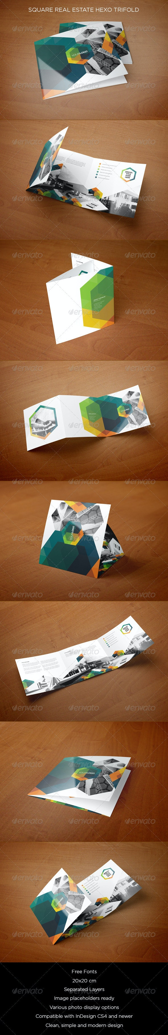 Square Real Estate Hexo Trifold - Brochures Print Templates