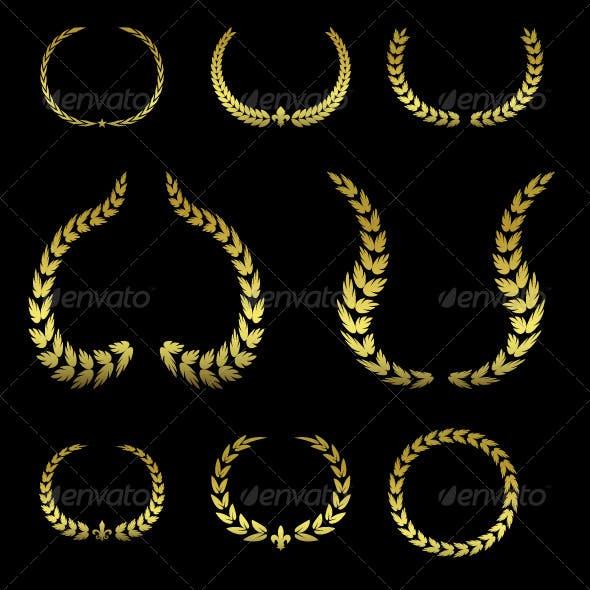 Collection of Golden Laurel Wreaths #2