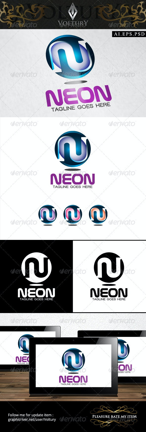 Neon Letter N 3D Logo - 3d Abstract