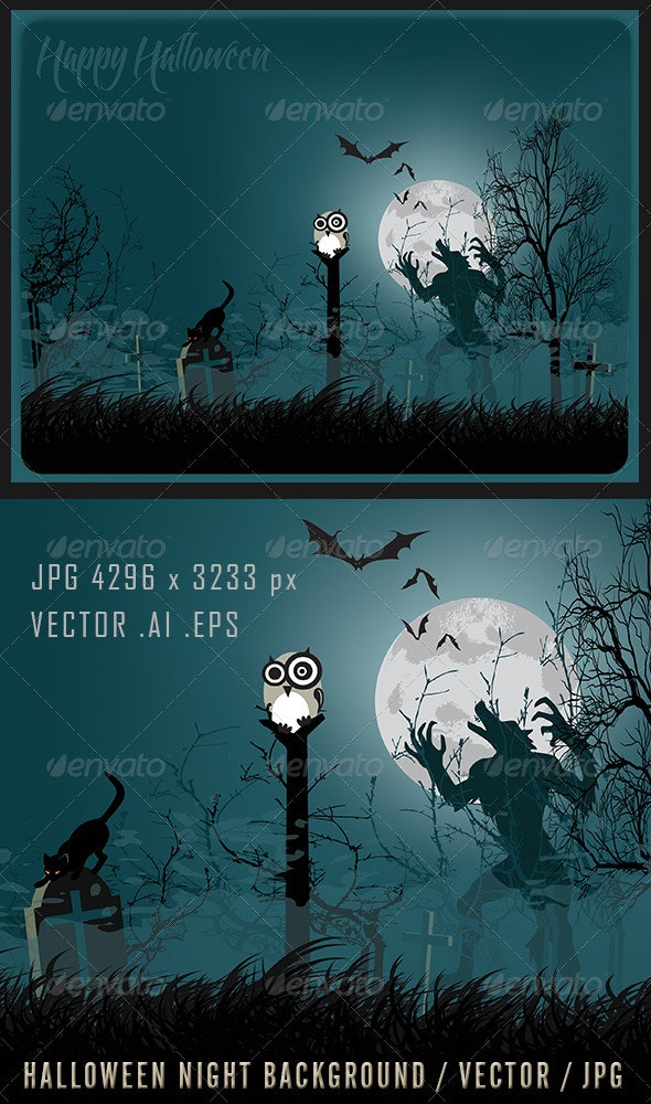 Halloween Night Background / Vector / JPG - Halloween Seasons/Holidays