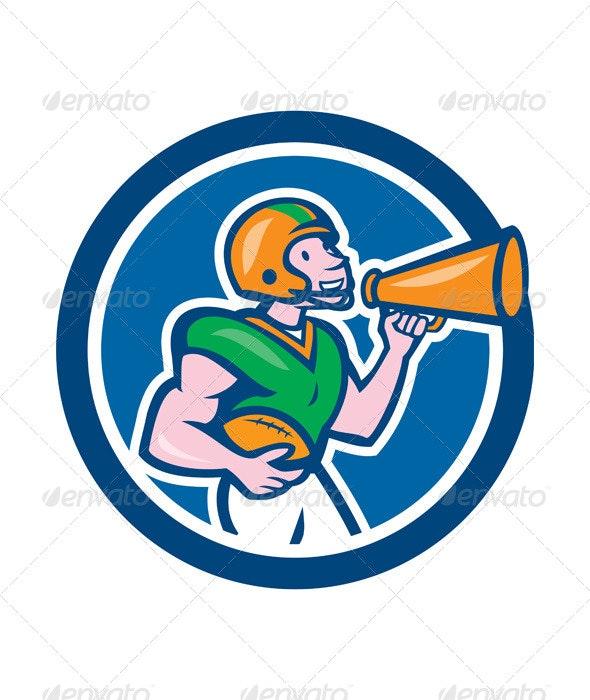 American Football Quarterback Bullhorn Cartoon - Sports/Activity Conceptual