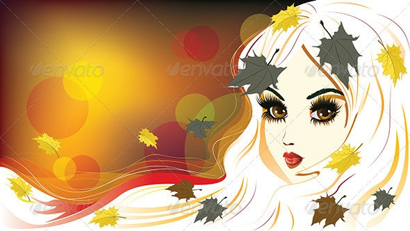 Autumn Girl with White Hair - People Characters