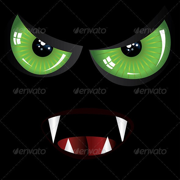 Evil Face with Green and Red eyes - Halloween Seasons/Holidays