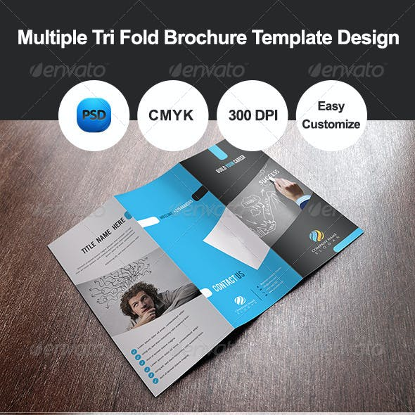 Multiple Tri Fold Brochure Template Design