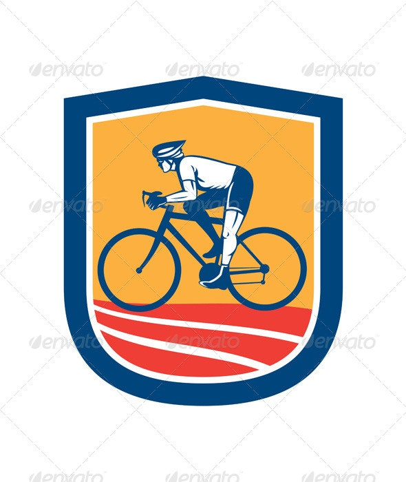 Cyclist Riding Bicycle Cycling Side View Retro - Sports/Activity Conceptual