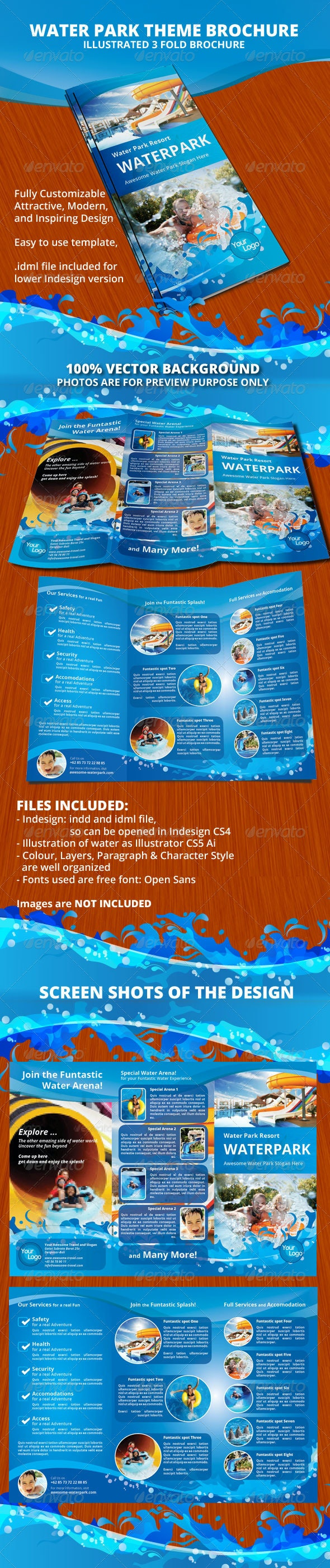 Water Park Theme Trifold Brochure - Informational Brochures