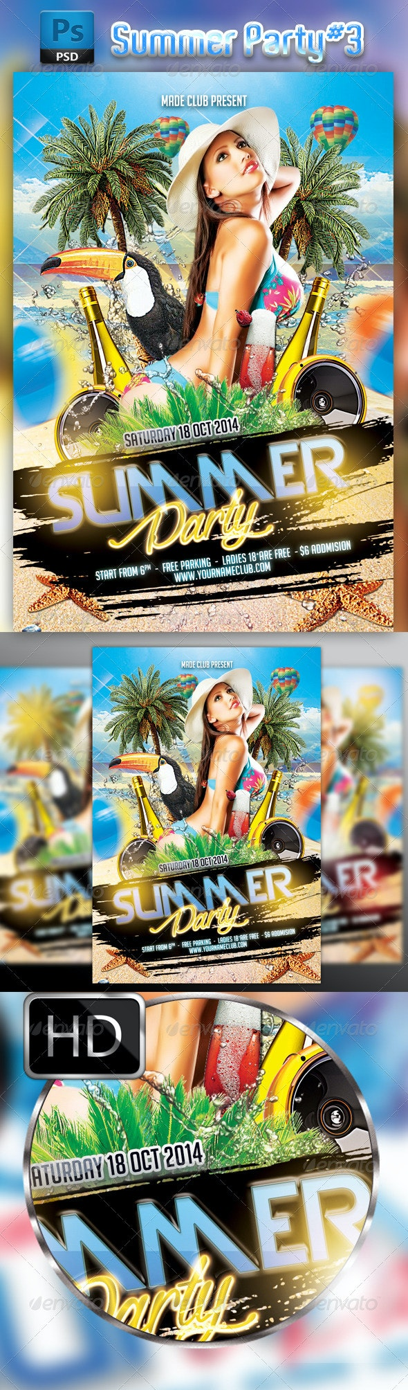 Summer Party Flyer Template 3 - Clubs & Parties Events
