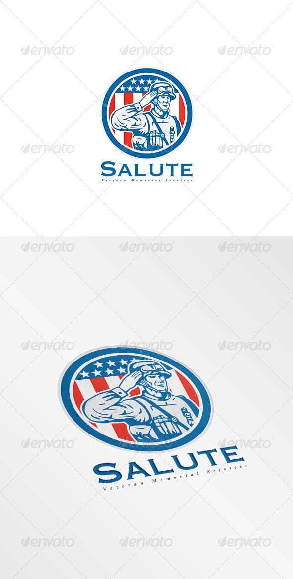 Salute Veteran Memorial Services Logo - Humans Logo Templates