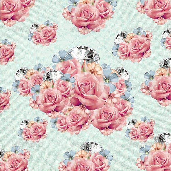 Diamond & Flower Bouquet Background