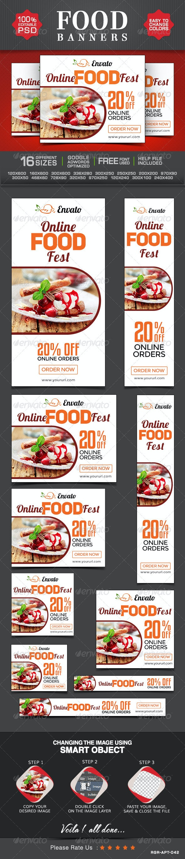 Restaurant and Cafe Banners - Banners & Ads Web Elements