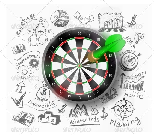 Realistic Vector Target Illustration - Concepts Business