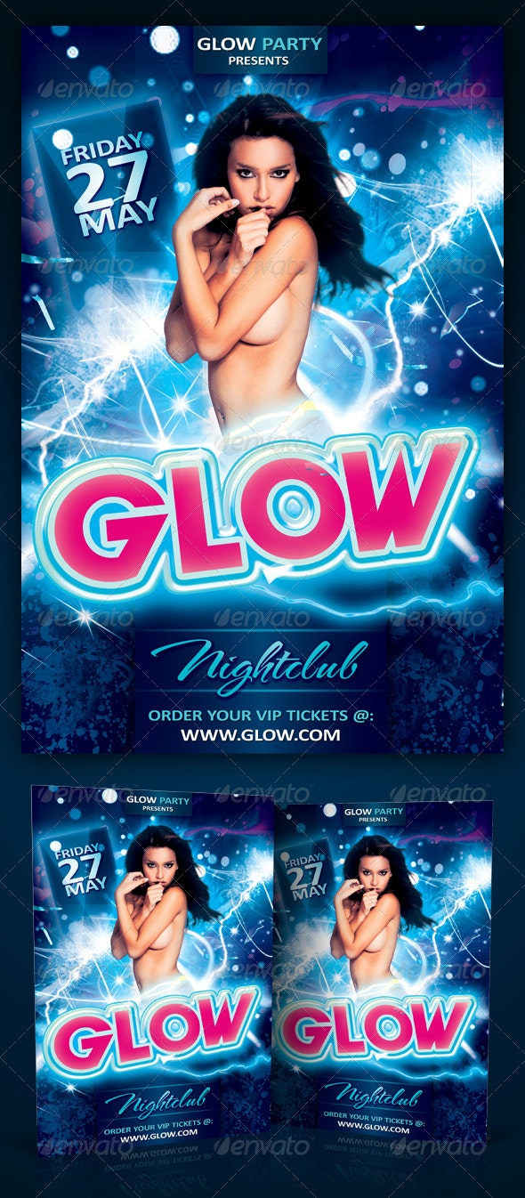 Glow Party Flyer Template PSD - Clubs & Parties Events