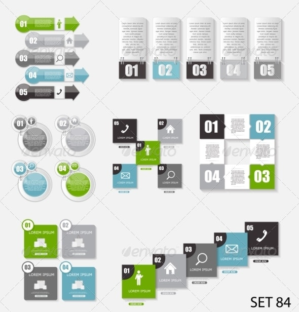 Collection of Infographic Templates for Business - Web Technology