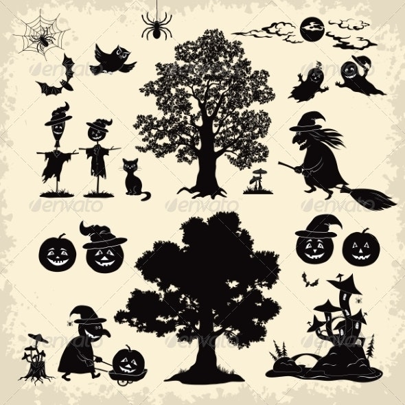 Halloween Objects and Subjects Set Silhouette - Halloween Seasons/Holidays