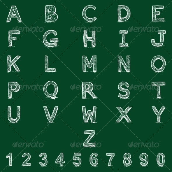 Vector Sketch Alphabet with Numbers - Miscellaneous Vectors