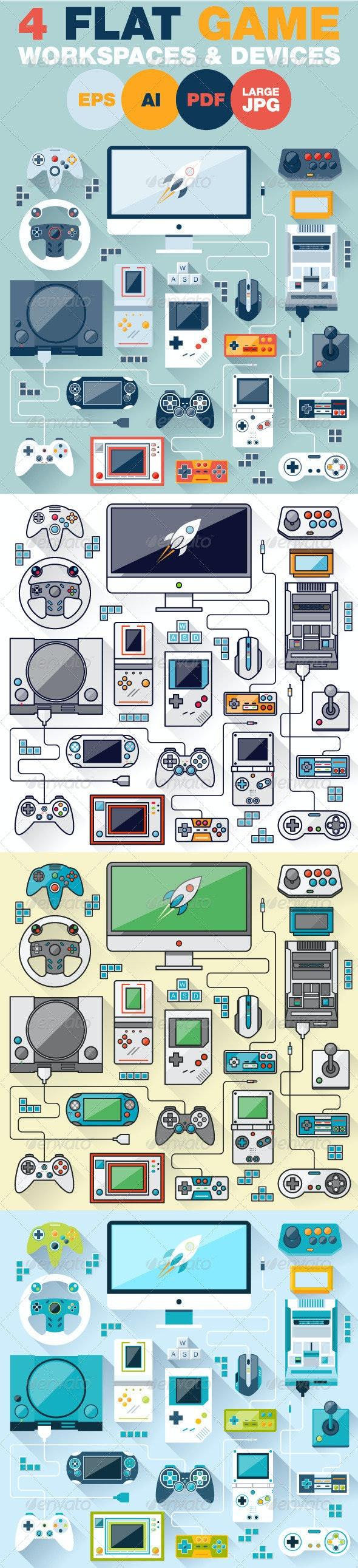 Game Environment Flat Design Concept - Technology Conceptual
