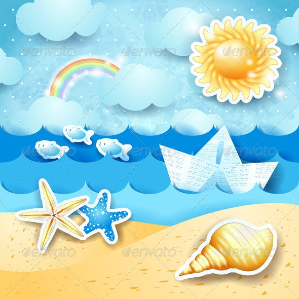 Seascape with Sun, Seashells and Paper Boat - Landscapes Nature
