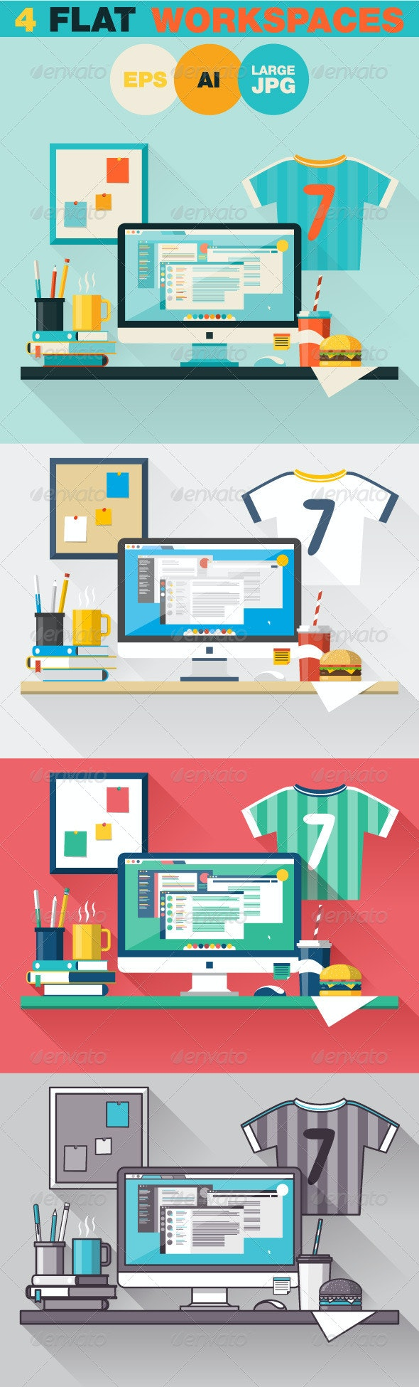 Office Workplace Flat Design Concept - Objects Vectors