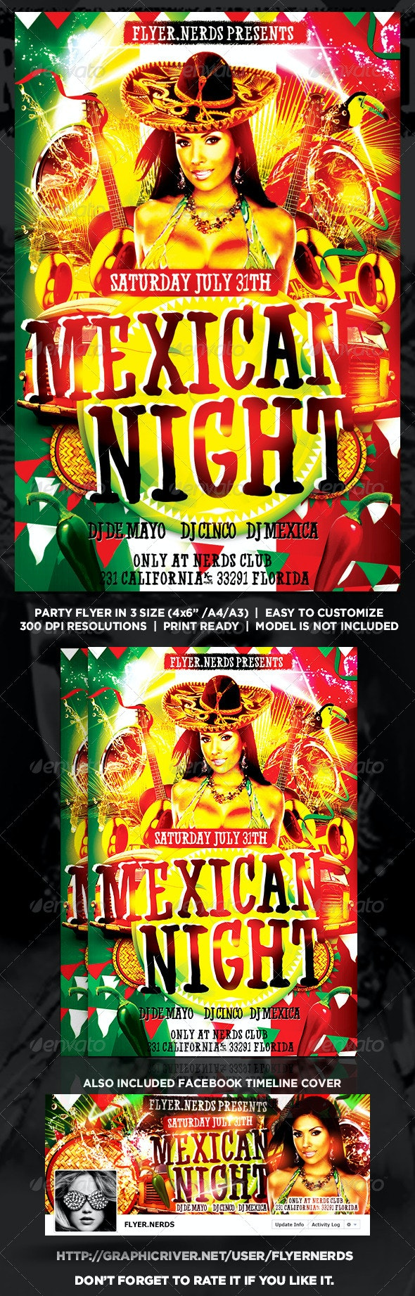 Mexican Night Party Flyer - Clubs & Parties Events