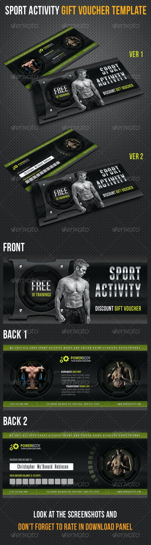 Sport Activity Gift Voucher V25 - Cards & Invites Print Templates