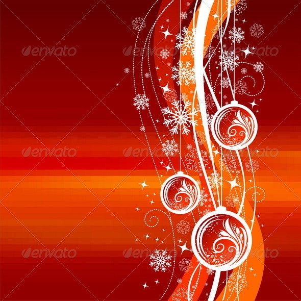 Christmas Ornate Illustration With Holiday Baubles - Christmas Seasons/Holidays