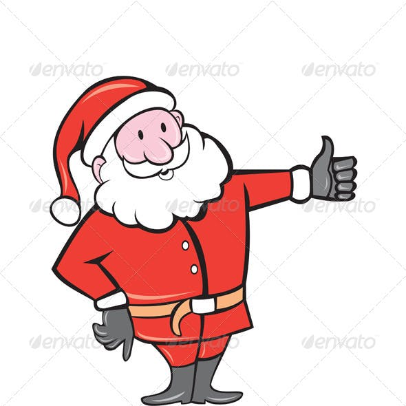 Father Christmas Thumbs Up Cartoon
