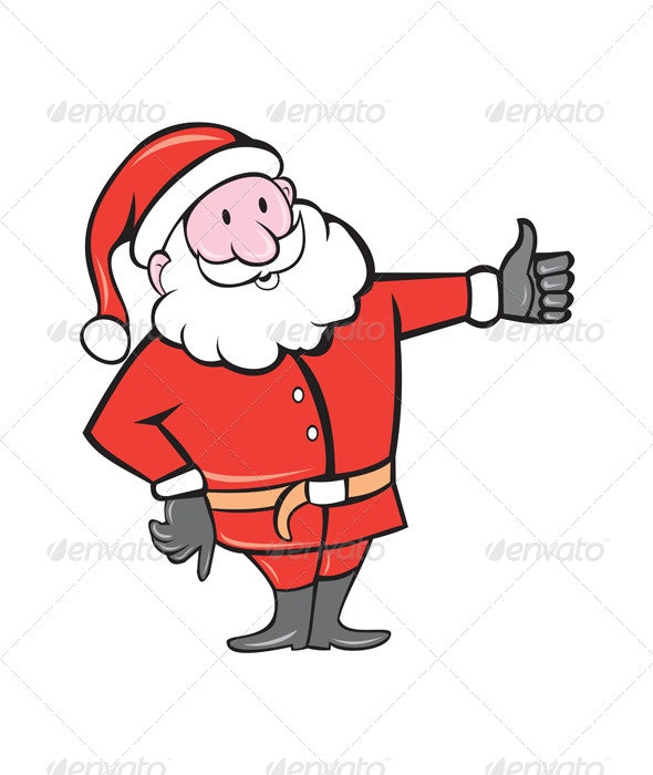 Father Christmas Thumbs Up Cartoon - People Characters