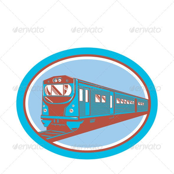 Passenger Train Front View Retro