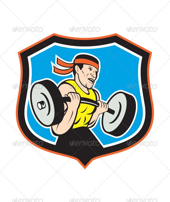 Weightlifter Lifting Barbell Shield Cartoon - Sports/Activity Conceptual