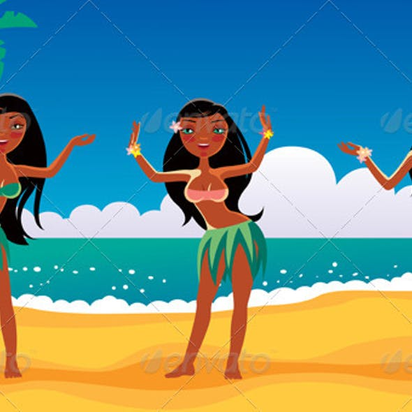 Hawaiian Dancing Girls