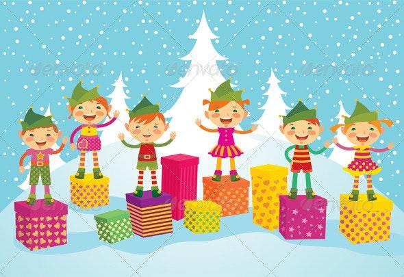 Merry Christmas Elves - Christmas Seasons/Holidays