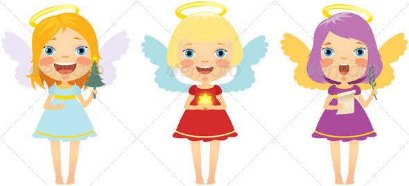 Set of Christmas Angels - Christmas Seasons/Holidays