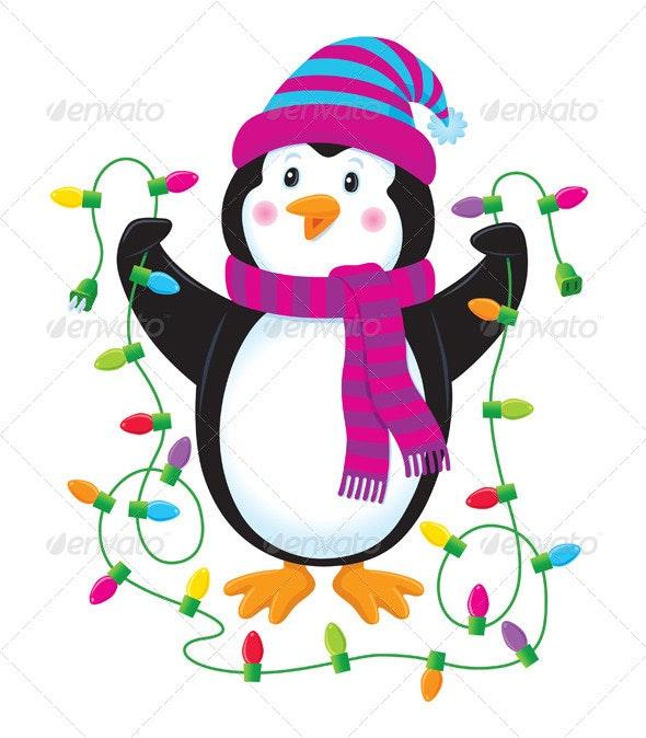 Penguin With Christmas Lights - Christmas Seasons/Holidays