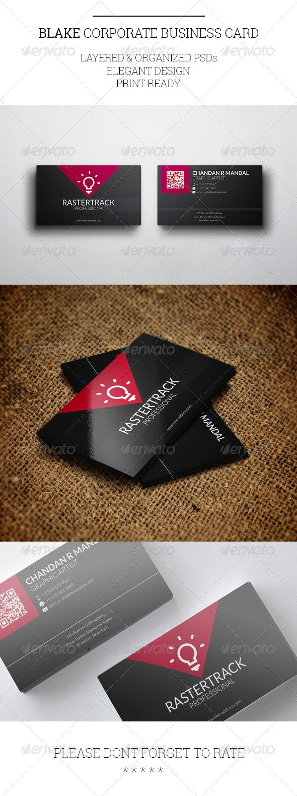 Blake Business Card Template - Corporate Business Cards