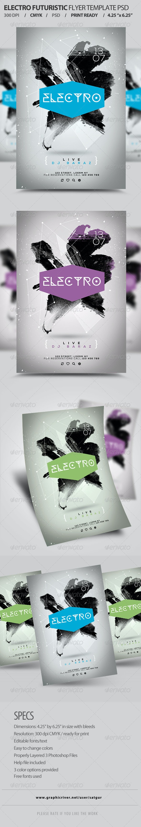 Electro Futuristic Flyer Template PSD - Clubs & Parties Events
