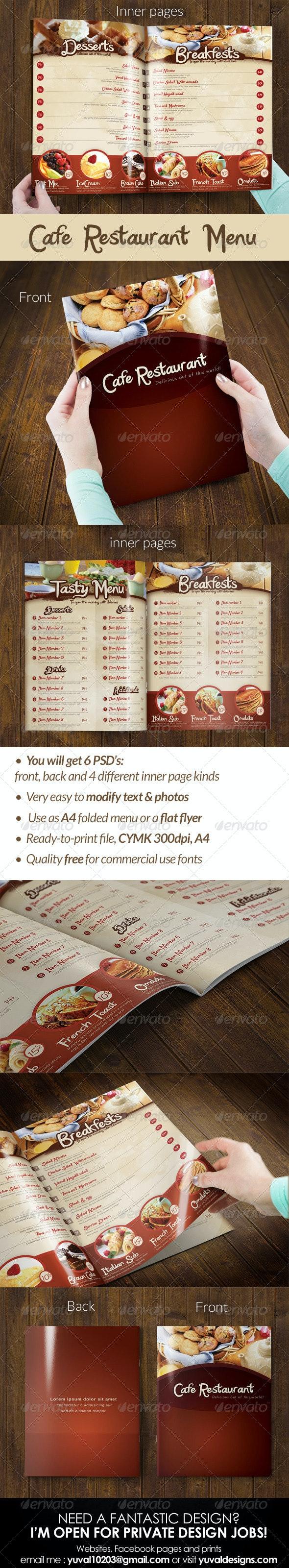 Cafe Restaurant Menu - Food Menus Print Templates