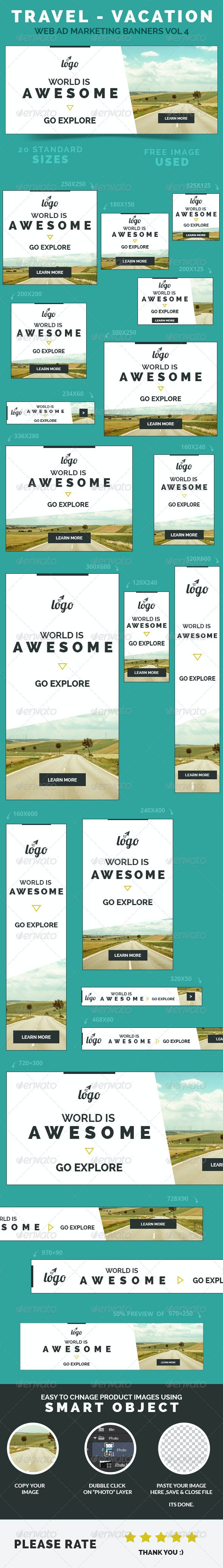 Travel - Vacation Web Ad Marketing Banners Vol 4 - Banners & Ads Web Elements