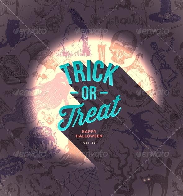 Halloween Type Design on a Hand Drawn Background - Halloween Seasons/Holidays