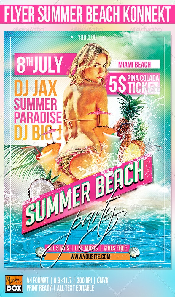 Flyer Summer Beach Konnekt - Events Flyers