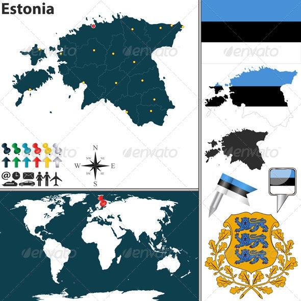 Map of Estonia - Travel Conceptual