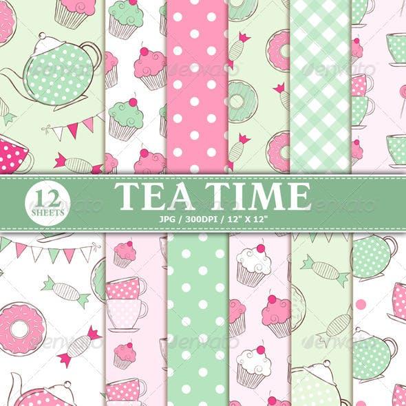 Tea Time Digital Paper Pack