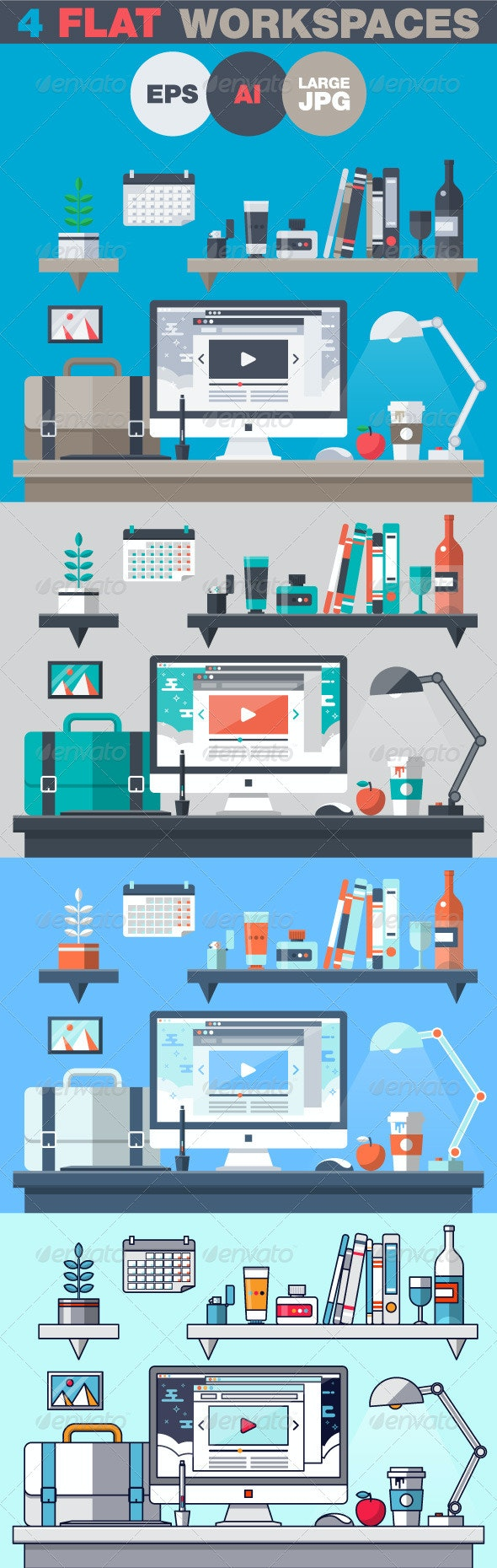 Office Workspace Flat Design Concept - Objects Vectors