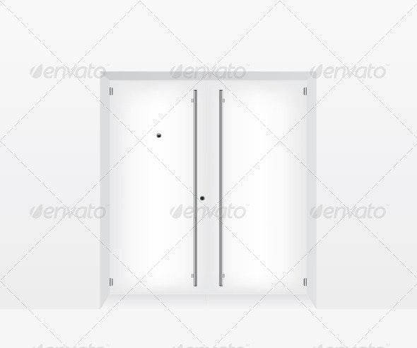 White Door Illustration - Objects Vectors